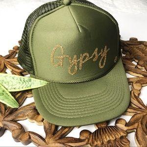GREEN+GOLD GLITTER GYPSY TRUCKER HAT